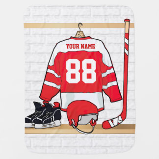 Personalized Red and White Ice Hockey Jersey Baby Blanket