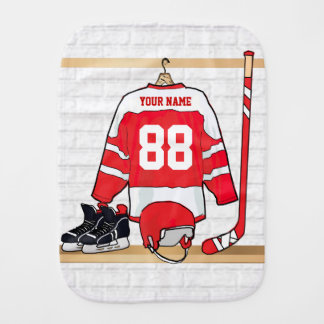 Personalized Red and White Ice Hockey Jersey Baby Burp Cloth
