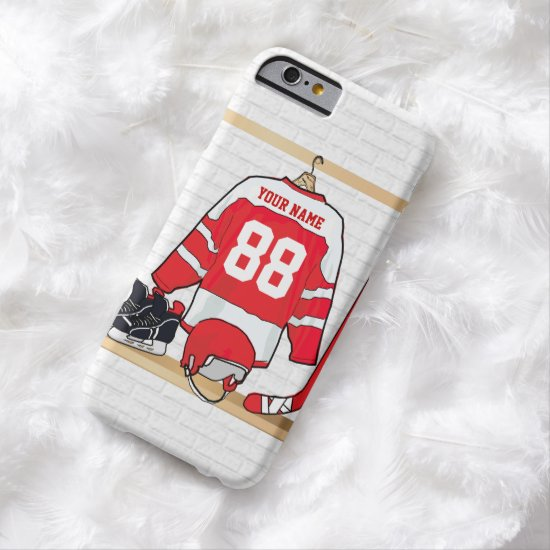 Personalized Red and White Ice Hockey Jersey Barely There iPhone 6 Case