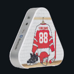 """Personalized Red and White Ice Hockey Jersey Bluetooth Speaker<br><div class=""""desc"""">A unique and fun sports design with a personalized ice hockey jersey hanging in a locker room with a helmet, ice skates and a hockey stick. The jersey can be fully personalized with the number and name of your choice to make a great gift for any ice hockey fan, ice...</div>"""