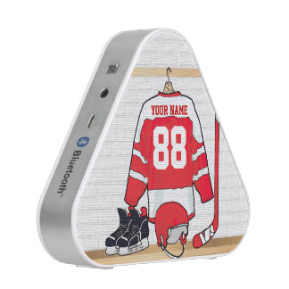 Personalized Red and White Ice Hockey Jersey Bluetooth Speaker