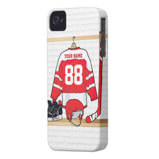 Personalized Red and White Ice Hockey Jersey iPhone 4 Cases