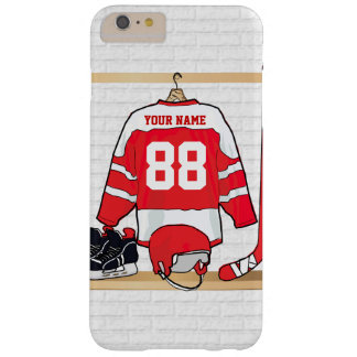 Personalized Red and White Ice Hockey Jersey Barely There iPhone 6 Plus Case