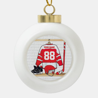 Personalized Red and White Ice Hockey Jersey Ceramic Ball Christmas Ornament