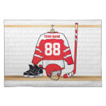 Personalized Red and White Ice Hockey Jersey Cloth Place Mat