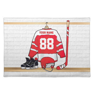 Personalized Red and White Ice Hockey Jersey Cloth Placemat