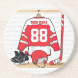 Personalized Red and White Ice Hockey Jersey Beverage Coaster