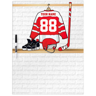 Personalized Red and White Ice Hockey Jersey Dry-Erase Board