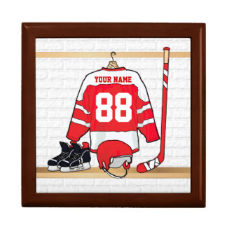 Personalized Red and White Ice Hockey Jersey Keepsake Boxes