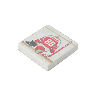 Personalized Red and White Ice Hockey Jersey Stone Magnet