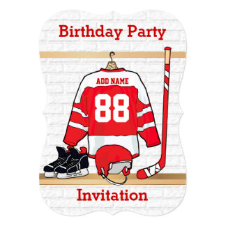 Personalized Red and White Ice Hockey Jersey 5x7 Paper Invitation Card