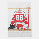 Personalized Red and White Ice Hockey Jersey Hand Towels