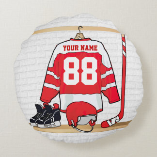 Personalized Red and White Ice Hockey Jersey Round Pillow