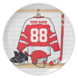 Personalized Red and White Ice Hockey Jersey Melamine Plate