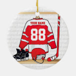 Personalized Red and White Ice Hockey Jersey Double-Sided Ceramic Round Christmas Ornament