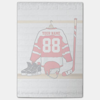 Personalized Red and White Ice Hockey Jersey Post-it Notes