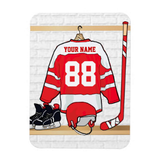 Personalized Red and White Ice Hockey Jersey Rectangular Photo Magnet