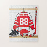 Personalized Red and White Ice Hockey Jersey Puzzle