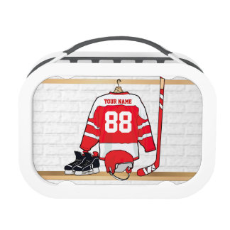 Personalized Red and White Ice Hockey Jersey Replacement Plate