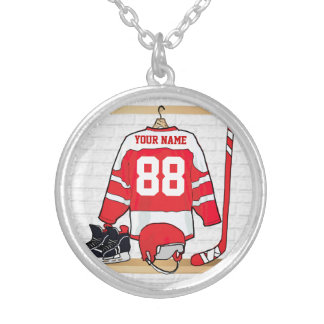 Personalized Red and White Ice Hockey Jersey Silver Plated Necklace