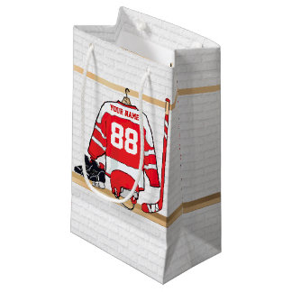 Personalized Red and White Ice Hockey Jersey Small Gift Bag