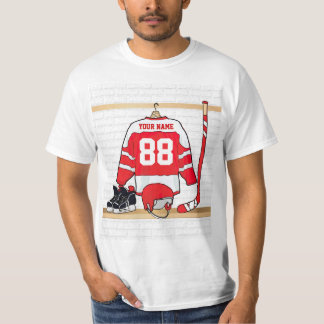 Personalized Red and White Ice Hockey Jersey T-Shirt