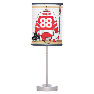 Personalized Red and White Ice Hockey Jersey Table Lamp