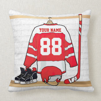 Personalized Red and White Ice Hockey Jersey Throw Pillow
