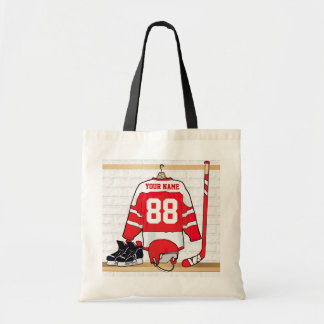 Personalized Red and White Ice Hockey Jersey Tote Bag