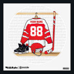 """Personalized Red and White Ice Hockey Jersey Wall Sticker<br><div class=""""desc"""">A unique and fun sports design with a personalized ice hockey jersey hanging in a locker room with a helmet, ice skates and a hockey stick. The jersey can be fully personalized with the number and name of your choice to make a great gift for any ice hockey fan, ice...</div>"""