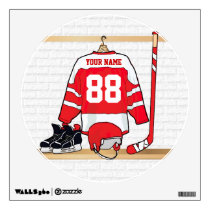 Personalized Red and White Ice Hockey Jersey Wall Sticker