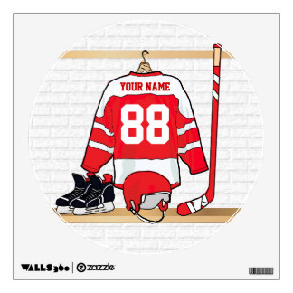 Personalized Red and White Ice Hockey Jersey Wall Skin