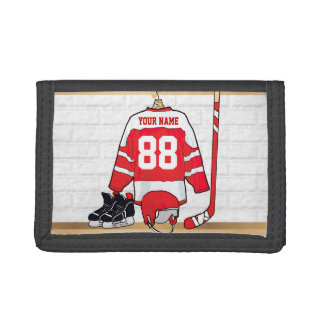 Personalized Red and White Ice Hockey Jersey Trifold Wallets