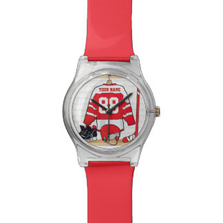 Personalized Red and White Ice Hockey Jersey Watch
