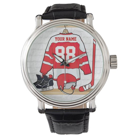 Personalized Red and White Ice Hockey Jersey Wrist Watch