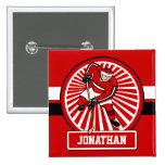 Personalized Red and White Ice Hockey Player Pin