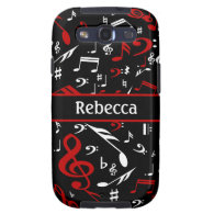 Personalized Red and white Musical notes on black Samsung Galaxy S3 Cover