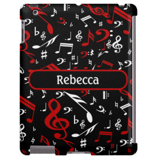 Personalized Red and white Musical notes on black Apple Ipad234 Case