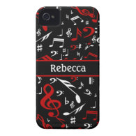 Personalized Red and white Musical notes on black iPhone 4 Covers