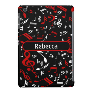 Personalized Red and white Musical notes on black iPad Mini Cases