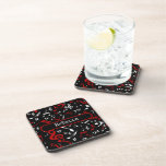 Personalized Red and white Musical notes on black Beverage Coaster