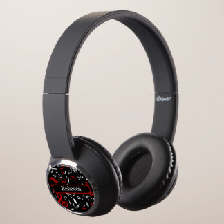 Personalized Red and white Musical notes on black Headphones