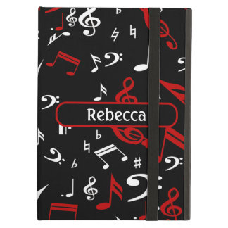 Personalized Red and white Musical notes on black iPad Cases