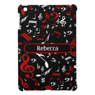 Personalized Red and white Musical notes on black iPad Mini Cover