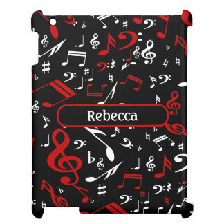 Personalized Red and white Musical notes on black Case For The iPad