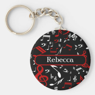 Personalized Red and white Musical notes on black Keychain
