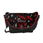 Personalized Red and white Musical notes on black Messenger Bag