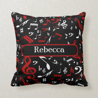 Personalized Red and white Musical notes on black Throw Pillow