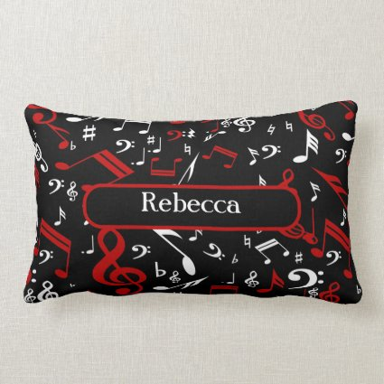 Personalized Red and white Musical notes on black Throw Pillows