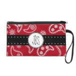 Personalized Red and White Paisley Pattern Country Wristlet Clutch